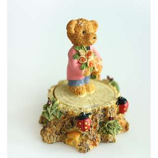 Vintage English Clay Sculpture Collection - Teddy Bears Jewellery Box