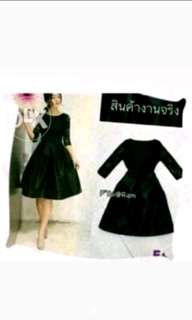 Dress brokat flace hitam satin bangkok