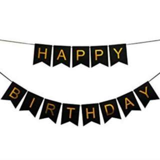 Happy Birthday banner. Black banner. Birthday decor