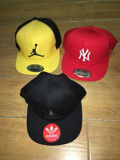 3 hats Jordan adidas snap back