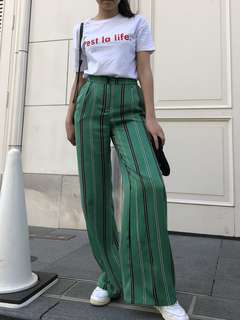 Bershka Green Wide Leg Pants Size S
