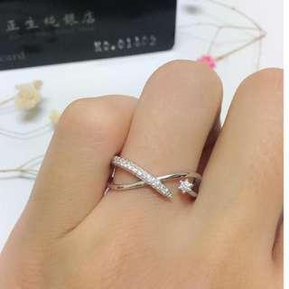 🚚 香港正生純銀飾-交叉排鑽小鑽戒指