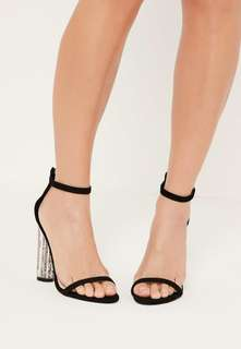 Glitter block barely there heels
