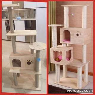 (NEW!) tall cat tree scratch pole bed