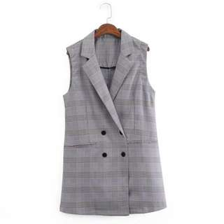 [INSTOCKS] Ladies Long Plaid Vest Outerwear