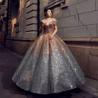 Gown Collection - High Quality Fairy Queen Gold Silver Shining Super Puffy Gown