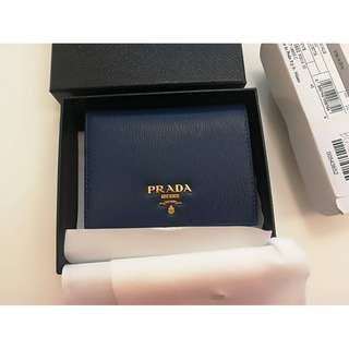 Prada Leather short Bi-fold Slim Wallet 100% Original