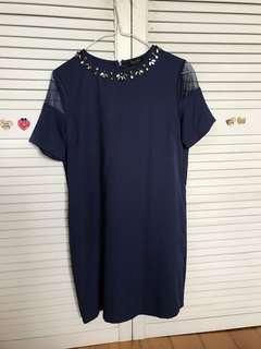 Navy blue dress with jewel neckline