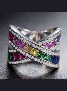 Sterling silver mystic topaz ring