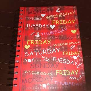 Pretty Red Notebook, Rainbow Coloured Paper Pages (Brand New)