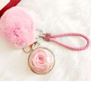 Preserved Flower Pink Rose 5cm Ball - Key Chain / Bag Charms / Birthday Gift