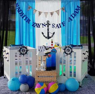 Backdrop Set Up - Nautical Double Baby Shower