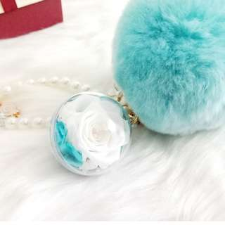 Preserved Flower Tiffany Blue Rose 4cm Ball - Key Chain/Bag Charm/Birthday Gift