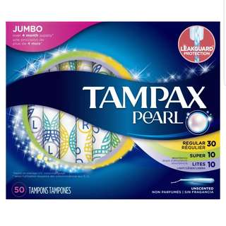 Tampax Pearl Jumbo Tampons Unscented 50count per box
