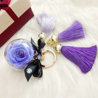 Preserved Flower Violet Rose 5cm Ball-Tassels Key Chain/Bag Charms/Birthday Gift