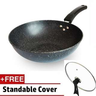 Panci wok pan penggorengan anti lengket ukuran besar 32 cm