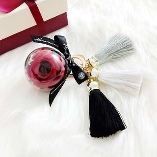 Preserved Flower Red Rose 5cm Ball - Tassels Key Chain/Bag Charms/Birthday Gift