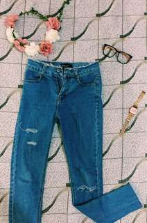 High waist tattered pants
