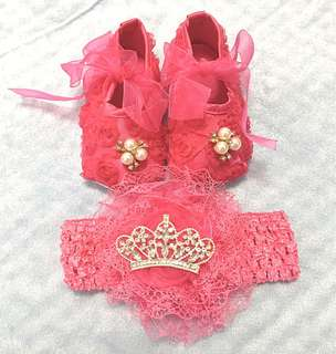 Baby shoes and headband for 7-9 months old