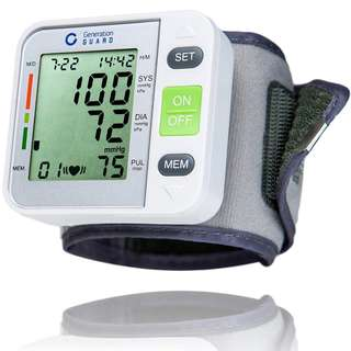 Generation Guard Automatic Blood Pressure Monitor with Large Screen Display Portable Case Adjustable Wrist Cuff USFDA approved GM-500W