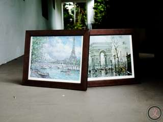PF001S 2pcs Framed printed scenic paintings