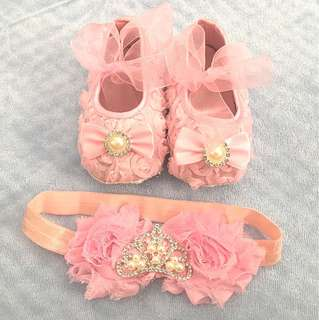 Baby shoes and headband for 10-12 months old