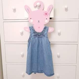 Worn 1-2 times soft denim dress from Pumpkin Patch for 12-18 months old