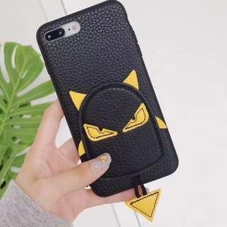 手機殼IPhone6/7/8/plus/X : 立體小怪獸全包黑邊皮軟殼