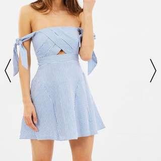 Bardot blue striped strapless off the shoulder dress