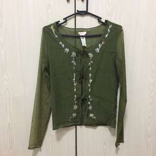 MNG Sequins Army Green Top Size S