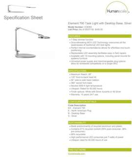 Table Lamp (Brand New Humanscale Lamp)