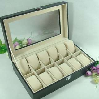 10 Slot PU Leather Watch Display Box For Collection