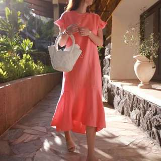 Salmon Pink Mermaid Hem Cotton Linen Dress