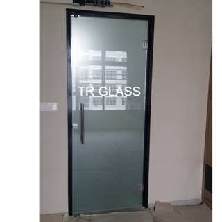 Clear Frosted Tempered Glass Swing Door (Toilet Entrance)