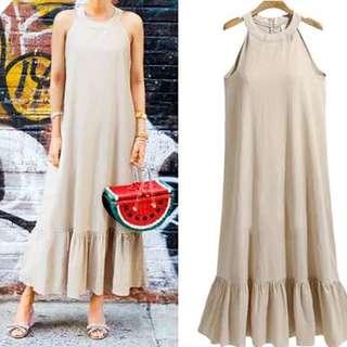 (L~4XL) Summer Women's European Halter Sleeveless Dress Long Skirt