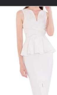 Doublewoot Peplum Dress (White/Burgundy/CoralBlue)