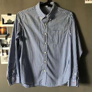 Uniqlo teens blue gingham shirt