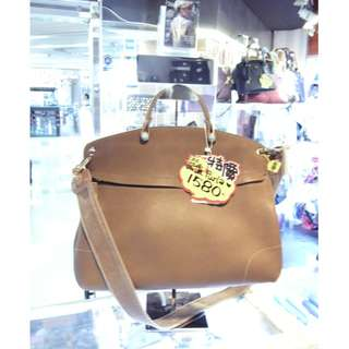 Furla Brown Leather Shoulder Handbag Hand Bag 芙拉 啡色 牛皮 皮革 手挽袋 手袋 肩袋 袋