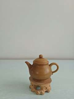 Vintage Yellow Zisha Teapot height 6cm diameter 4cm good condition