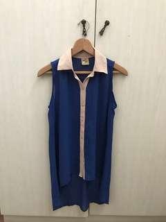 Blue long top / baju biru krem atasan kemeja tidak berlengan