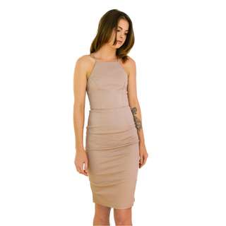 High Neck Midi Bodycon Dress