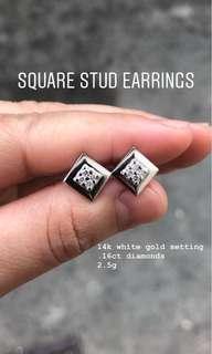 14K WHITEGOLD/YELLOW GOLD EARRINGS