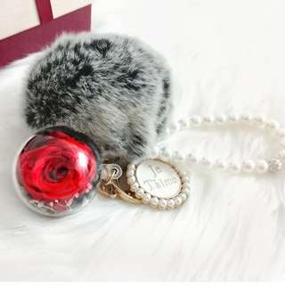 Preserved Flower Red Rose 4cm Ball - Key Chain / Bag Charms / Birthday Gift