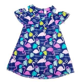 Flamingo off shoulder girl dress