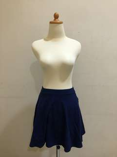 Blue Flare Mini Skirt