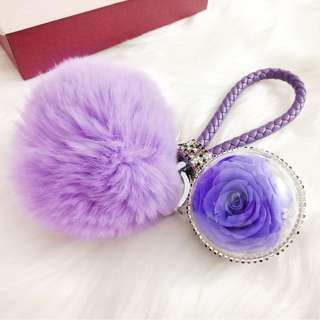 Preserved Flower Ball Leather Crystal Purple Key Chain Bag Accessories Gift