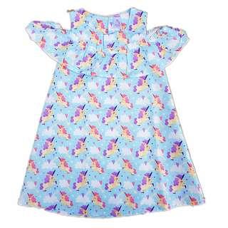 Unicorn girl off shoulder cotton dress