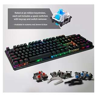 TECWARE Phantom 104 Mechanical Keyboard, RGB LED, Outemu Switches ,Extra Switches Provided, Excellent for Gamers ( Blue , Red , Brown)