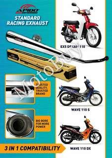 EX5 DREAM110 / WAVE110 DX/ WAVE110S STD RACING EXHAUST (APIDO RACING)