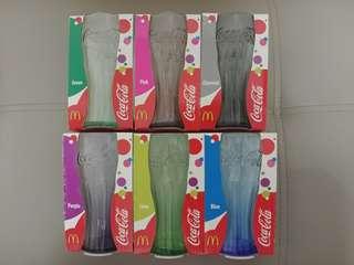 麥當勞可口可樂玻璃杯~colour系列 全套6隻$120